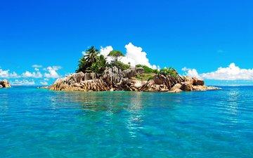 небо, облака, камни, море, пальмы, океан, остров, тропики, сейшелы, сейшельские острова