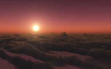 clouds, the sun, sunset, stars, twilight, stratosphere