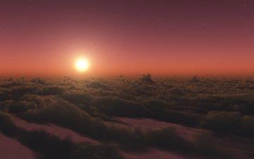 облака, солнце, закат, звезды, сумерки, стратосфера