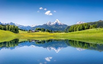 the sky, trees, lake, mountains, forest, reflection, summer, alps