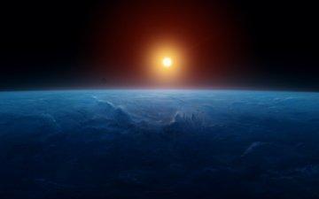солнце, земля, космос, планета, пространство