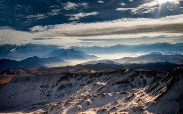 небо, горы, природа, солнечный день