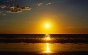 небо, облака, солнце, природа, закат, пейзаж, море, песок, пляж, горизонт, океан