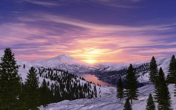 the sky, clouds, trees, lake, mountains, sunrise, snow, winter, morning