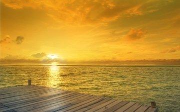 небо, облака, восход, солнце, мостик, море, утро, горизонт, пирс