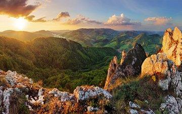 небо, облака, горы, восход, солнце, природа, утро, дервья, словакия