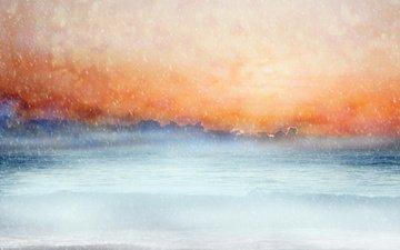 небо, восход, море, горизонт, снегопад