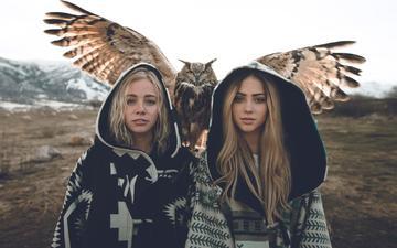 сова, взгляд, крылья, девушки, птица, волосы, лицо, блондинки, zach allia