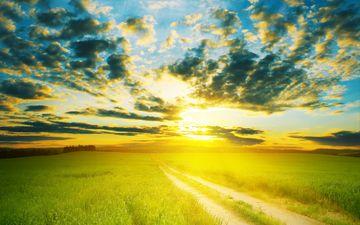 небо, дорога, облака, солнце, пейзаж, поле, горизонт