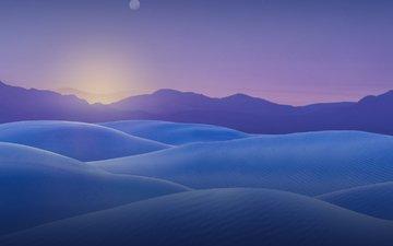 небо, горы, восход, утро, горизонт, рассвет, арктика