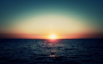 the sky, the sun, sunset, sea, horizon