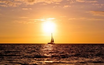 water, sunset, sea, horizon, sailboat, the ocean, yacht, sails
