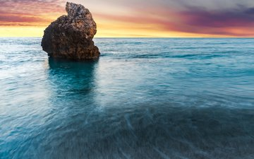 the sky, sunset, sea, rock, greece, lefkada
