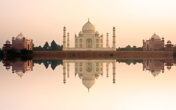 река, отражение, архитектура, мечеть, индия, тадж-махал, агра, джамна