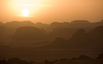 небо, скалы, восход, солнце, пустыня, плато, сахара, алжир, тассилин-адджер