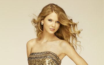 girl, dress, blonde, look, hair, face, singer, taylor swift, bare shoulders