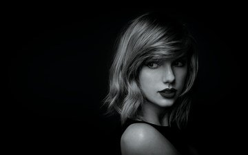 girl, portrait, look, black and white, hair, lips, face, singer, taylor swift