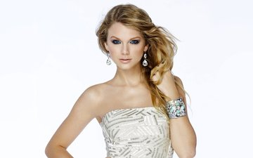 girl, look, hair, face, white background, singer, earrings, white dress, taylor swift, bare shoulders