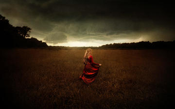 the sky, nature, clouds, girl, field, model, hair, red dress, tj drysdale