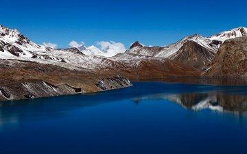 облака, вода, горы, снег, пейзаж, альпы, горный хребет, кратерное озеро