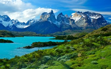 the sky, grass, clouds, lake, mountains, nature, snowy peaks, chile, national park, patagonia, torres del paine, lake pehoe