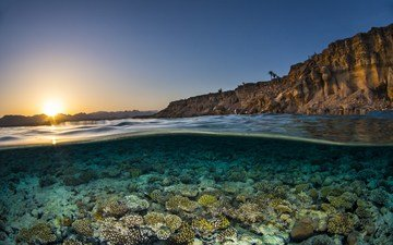 the sky, rocks, the sun, sea, dawn, coast, under water, corals