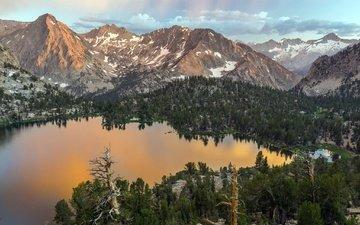 небо, облака, деревья, озеро, горы, снег, лес, сша, калифорния