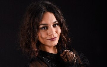 girl, smile, portrait, look, hair, black background, lips, face, actress, singer, vanessa hudgens