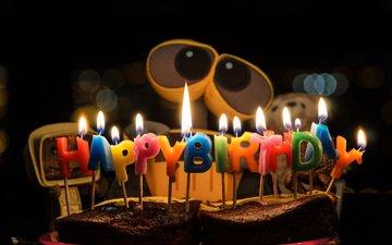 свечи, робот, мультфильм, валли, день рождения, пирог, -день рождения