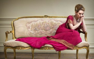 pose, actress, hands, hairstyle, sofa, lily james, pink dress, war & peace, natasha rostova