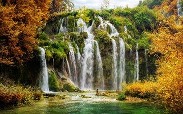 деревья, осень, хорватия, водопады, плитвицкие озёра, национальный парк