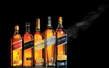 черный фон, бутылки, виски, johnnie walker, black label, gold label, platinum label, red label, blue label