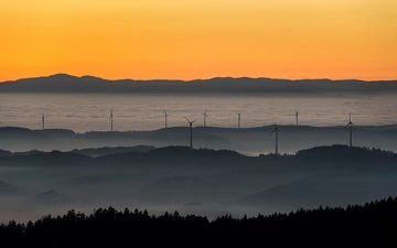the sky, mountains, sunset, fog, horizon, windmills, wind turbine