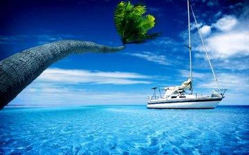 небо, облака, море, пляж, пальма, яхта, тропики