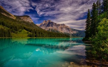 the sky, clouds, trees, lake, mountains, forest, canada, emerald lake, yoho national park