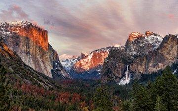 горы, природа, лес, пейзаж, водопад, сша, йосемити, йосемитский национальный парк