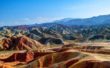the sky, clouds, mountains, rocks, china, national park, zhangye danxia, zhangye national geopark, colourful mountains, colorful mountains