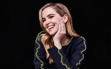girl, smile, look, hair, black background, face, actress, zoey deutch