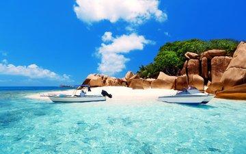 море, пляж, лодки, остров, тропики, 11, сейшелы