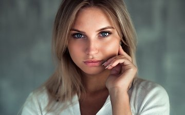 girl, blonde, portrait, look, model, hair, lips, face, andrey firsov