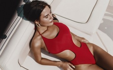 girl, brunette, the view from the top, model, yacht, swimsuit, closed eyes, alexander belavin