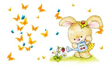 art, figure, butterfly, picture, bunny, lake, berry, children's