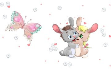 art, heart, butterfly, daisy, bunny, children's, bunnies, hugs