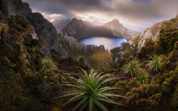 lake, mountains, rocks, nature, australia, national park, tasmania, lake oberon, southwest national park, western arthurs