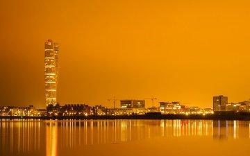 reflection, tower, home, sweden, skyscraper, port, malmo
