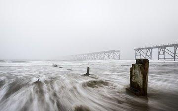 shore, sea, fog, bridge, piles