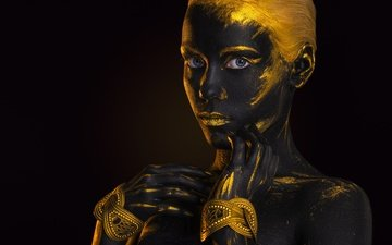 girl, look, black background, face, gold, body art, afemera