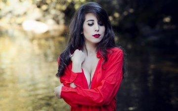 брюнетка, модель, губы, секси, в красном, боке, декольте, miriam pagola