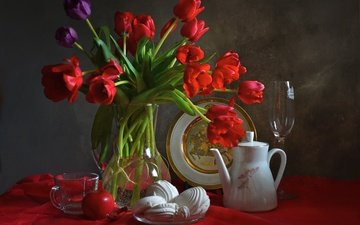 flowers, bouquet, tulips, apple, dishes, marshmallows, composition