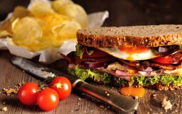 greens, sandwich, cheese, vegetables, tomato, egg, ham